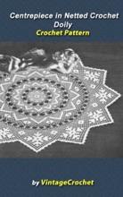 Centerpiece in Netted Crochet Doily Vintage Crochet Pattern eBook
