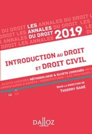 Annales Introduction Au Droit Et Droit Civil 2019 M Thodologie Sujets Corrig S