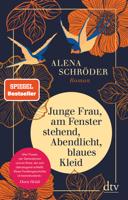 Alena Schröder - Junge Frau, am Fenster stehend, Abendlicht, blaues Kleid artwork