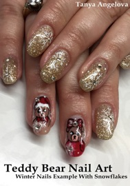 Teddy Bear Nail Art Winter Nails Example With Snowflakes