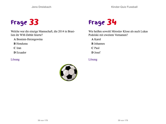 Kinder Quiz Fussball