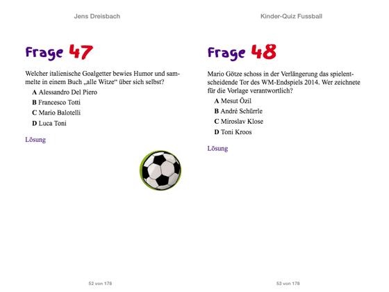 Kinder Quiz Fussball