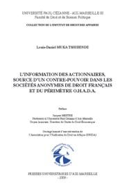 L Information Des Actionnaires Source D Un Contre Pouvoir Dans Les Soci T S Anonymes De Droit Fran Ais Et Du P Rim Tre O H A D A