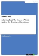 John Steinbeck: The Grapes Of Wrath - Analyse Der Deutschen Übersetzung