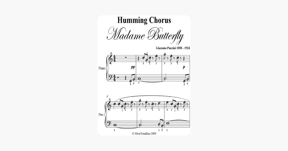 Humming Chorus Madame Butterfly Easy Piano Sheet Music