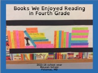 Books We Enjoyed Reading in Fourth Grade