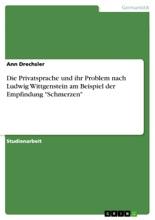 Die Privatsprache Und Ihr Problem Nach Ludwig Wittgenstein Am Beispiel Der Empfindung 'Schmerzen'