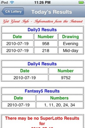 California Lottery Lite Results on the App Store