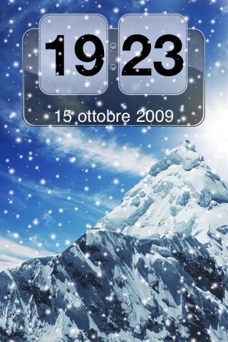Snow Mountain Animated Clock FREE screenshot-3