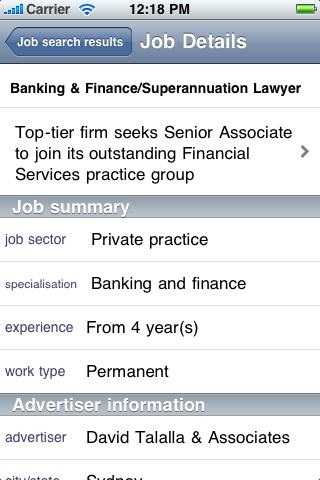 Screenshot of Legal Jobs Centre