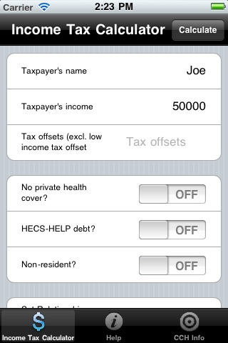 CCH Income Tax Rates Calculator Lite