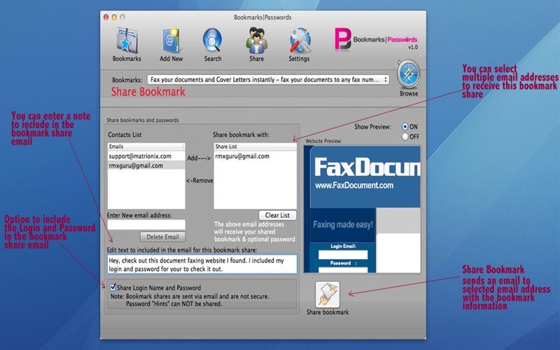 BookmarksPasswords Lite Screenshot