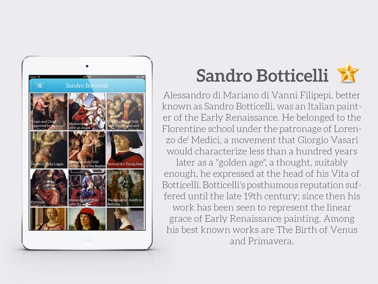 Painting Gallery HD for iPad - Leonardo da Vinci , Edgar Degas , Hieronymus Bosch , Sandro Botticelli screenshot-3