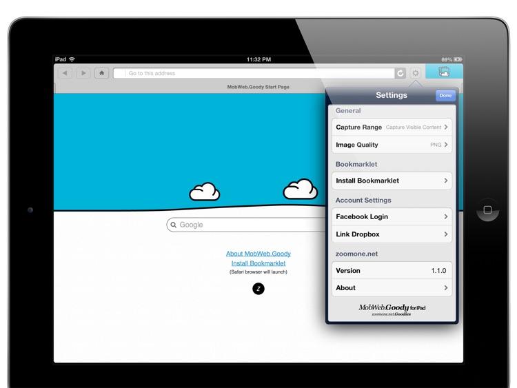 Full Screen Capture - MobWeb.Goody for iPad