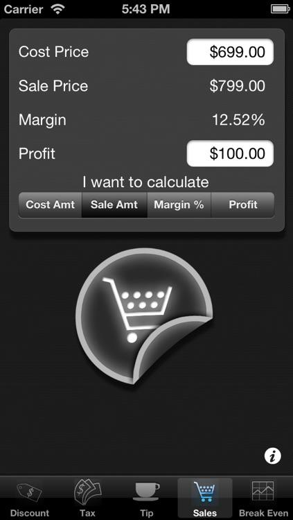 Percentages 5 in 1: Tax, Tip, Discount, Margin and Break Even Point Calculator screenshot-3