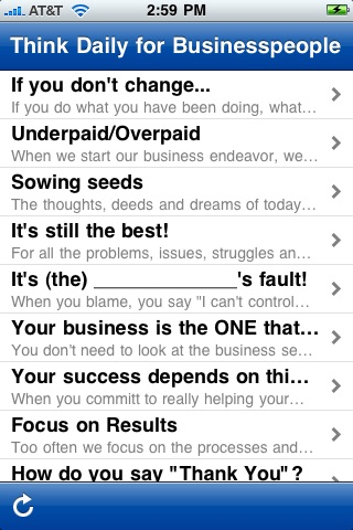 Screenshot of Think Daily for Businesspeople