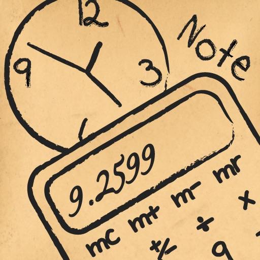 Paper Calculator & Clock - Calculator with sketch pad and clock