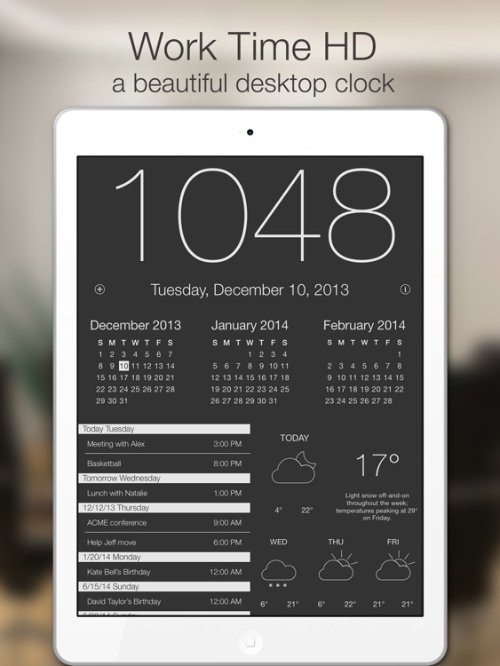 Work Time HD - Elegant desk top clock for iPad with calendar and weather screenshot-0