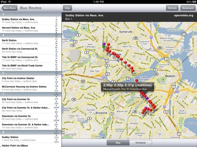 OpenMBTA for iPad