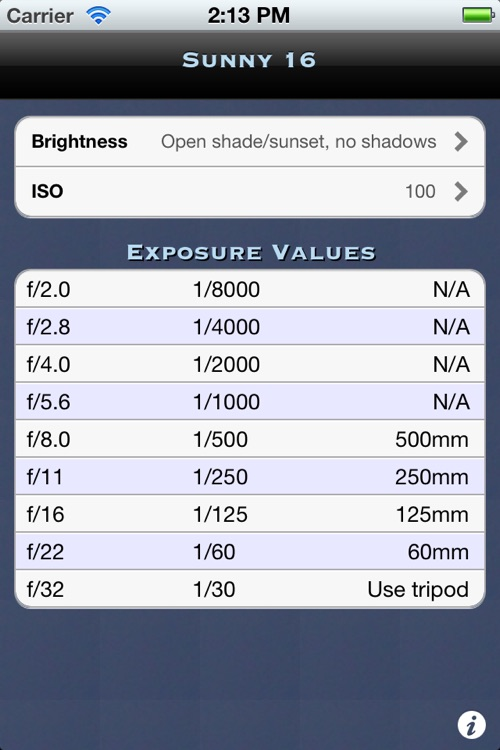 Sunny 16 Exposure Calculator