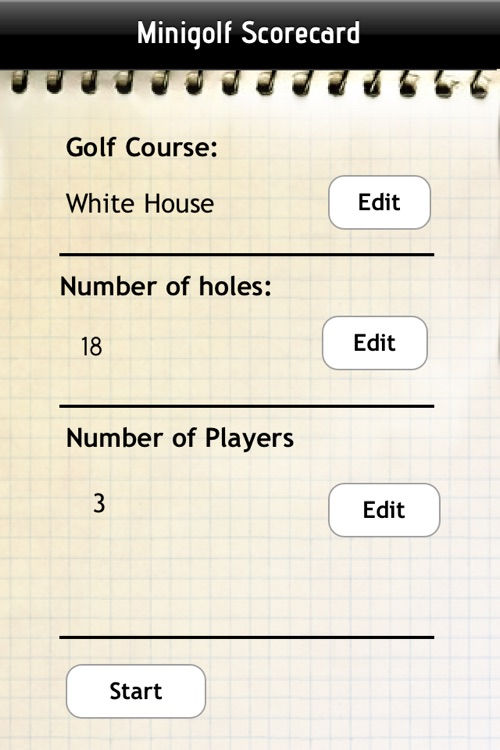 Miniature Golf Scorecard