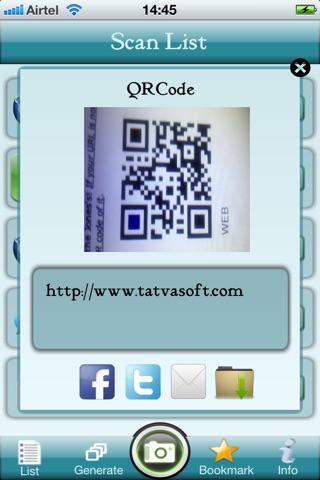 QR Code Reader and Generator Screenshot on iOS