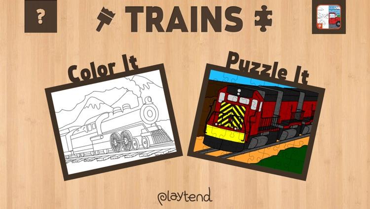 Color It Puzzle It: Trains Lite