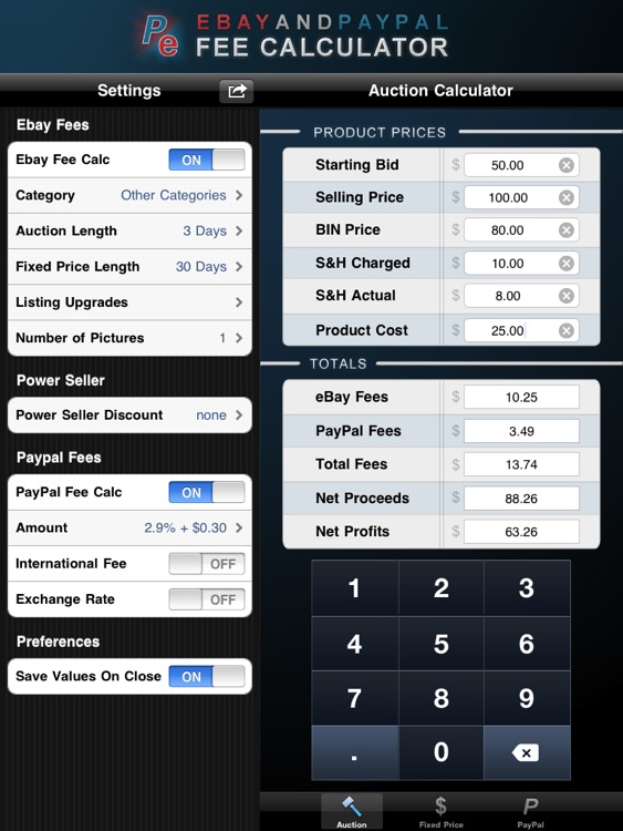 Fee Calculator HD for Ebay & PayPal