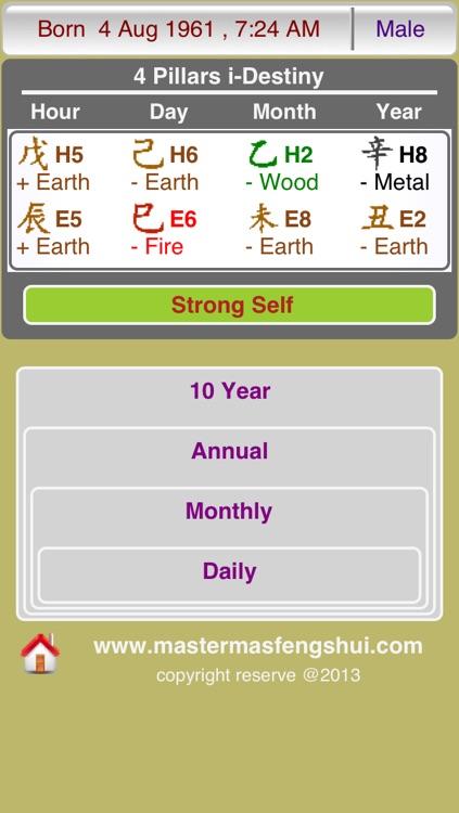 4 Pillars i-Destiny by Master Mas Feng Shui