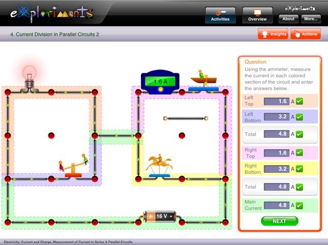 exploriments electricity current and charge, measurement ofcapturas de pantalla del ipad