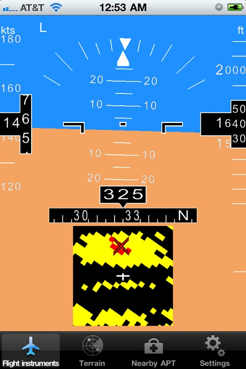 InFlight - attitude, flight instruments, terrain, obstacles and airports on a glass cockpit display with moving map