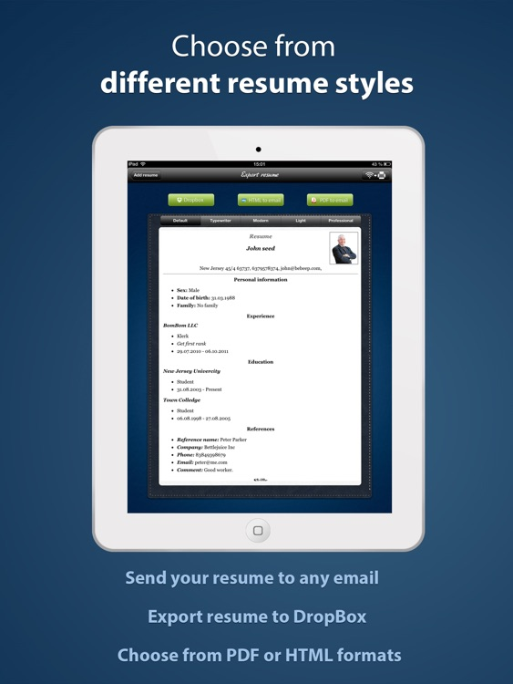 Pocket Mobile Resume PRO screenshot-2