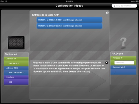 Screenshot #4 pour Système à Enseigner ARDrone: Se connecter au drone