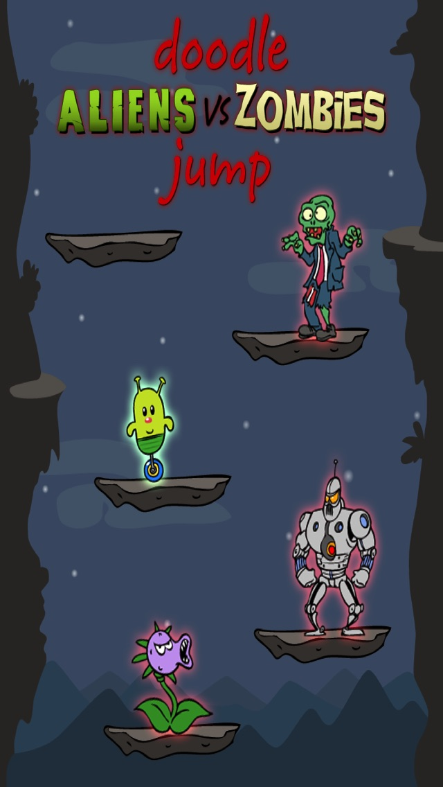 Screenshot #5 for Doodle Alien vs Zombies Jump Game - Heads Up While Also Killing The Pacific Rim Plants!