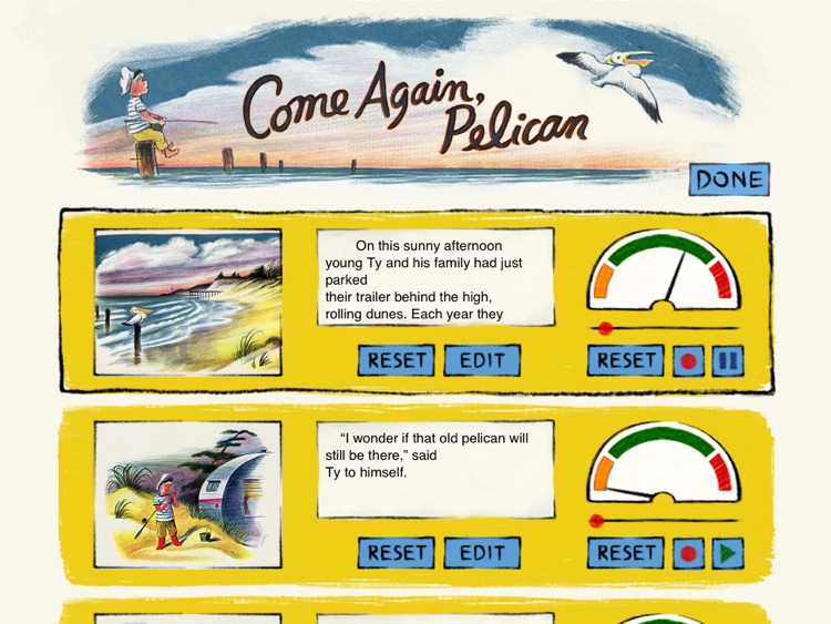 Come Again, Pelican is a story for kids about the great friendship between a young boy vacationing beside the sea with his parents and a pelican who comes to the boy's rescue. By the author of Corduroy, Don Freeman. (iPad Lite version, by Auryn Apps) screenshot-3