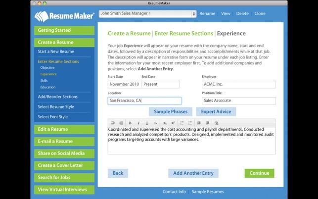 resume maker on the mac app store - Resume Maker App
