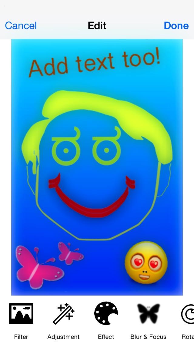 Zeichnung - alles in einem Foto Effekte verrückt Cool Bild Anwendung mit Emojis und EmoticonsScreenshot von 3