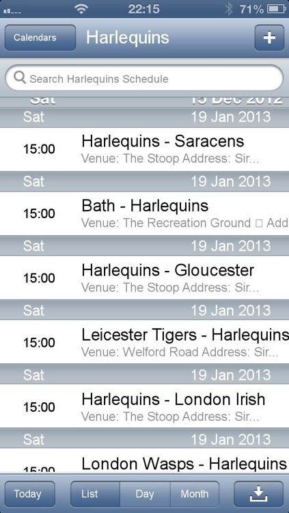 Fixtures for Aviva Premiership in your calendar screenshot-3