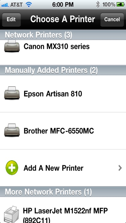 Printing for iPhone Printer Verification