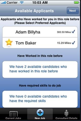 Screenshot of iRecruit