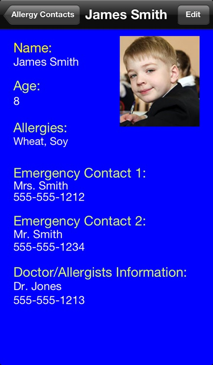 Food Allergy Emergency Contacts