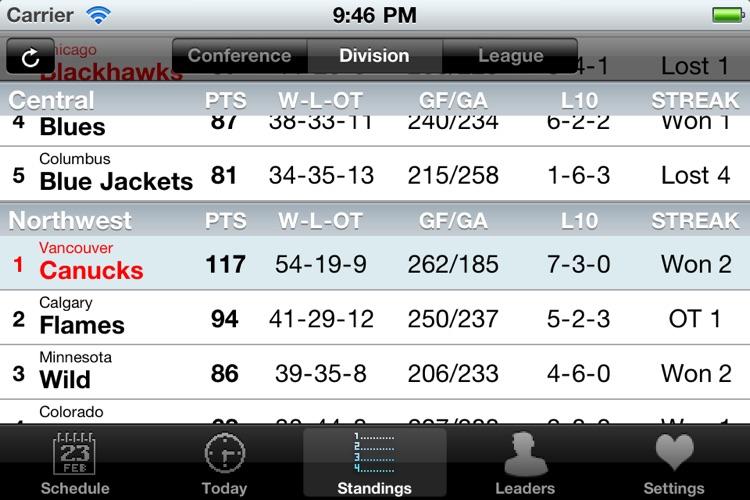 NHL Schedule 2009/10 screenshot-3