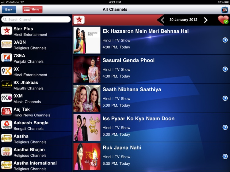 WHAT'S-ON-INDIA : TV Guide App for iPad by What's on India pvt ltd