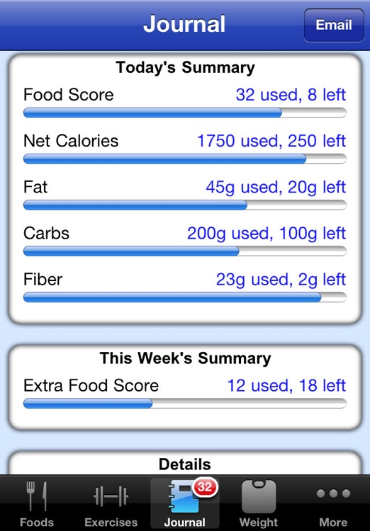 Nutrition Menu - Calorie, Exercise, Weight & Water Tracking