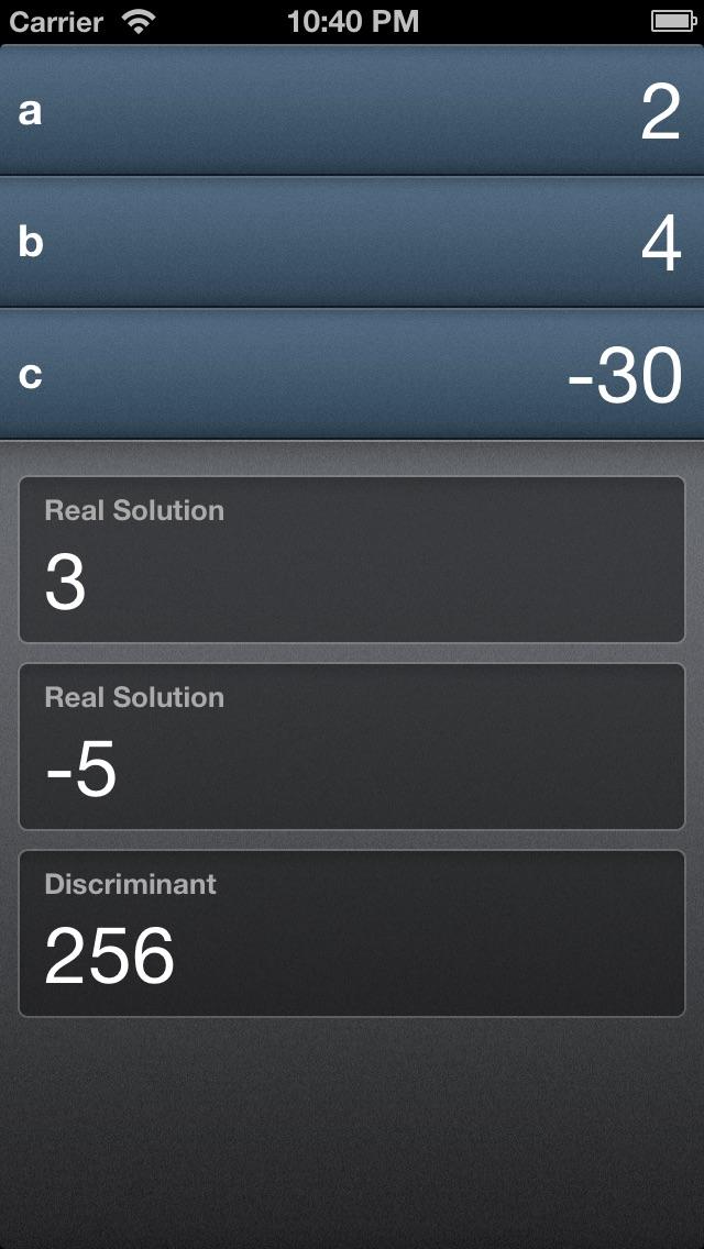Quadratic Formula Solver iPhone