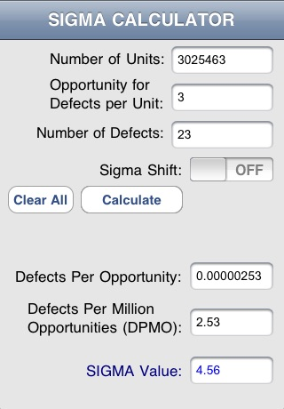 Sigmalator: The Six Sigma Value Calculator