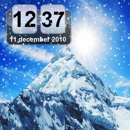 Snow Mountain Animated Clock FREE