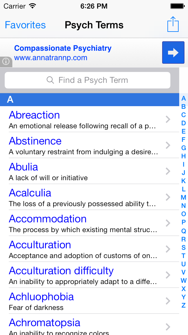 Psych Terms: Medical Dictionary and Terminology Pocket Glossary for Psychology, Psychiatry & Mental HealthScreenshot of 1