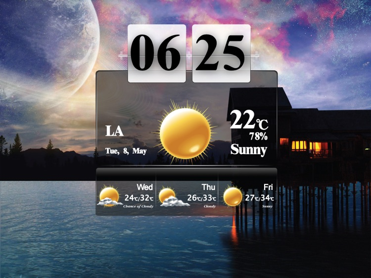 Art Weather With Clock HD