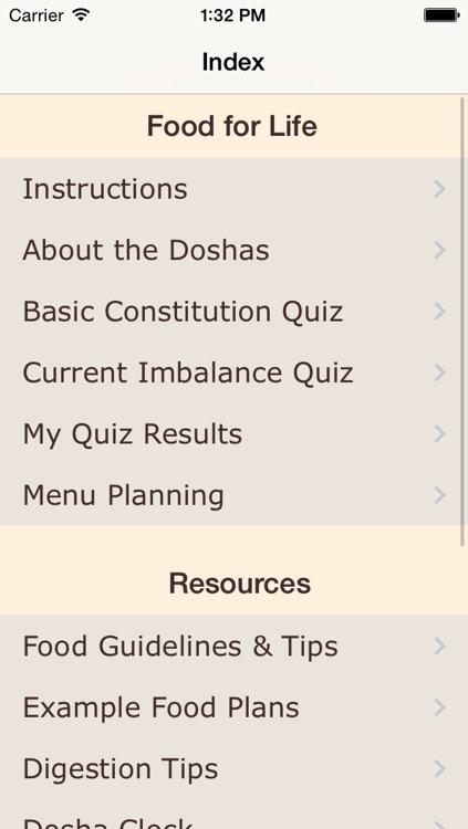 Dosha Diet - Ayurveda Food Planner
